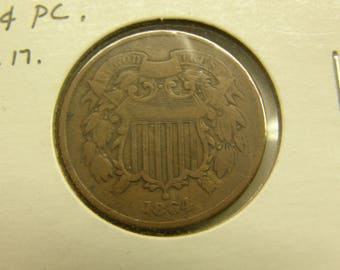 USA 1864 Two Cent Piece Copper Coin - Civil War Era