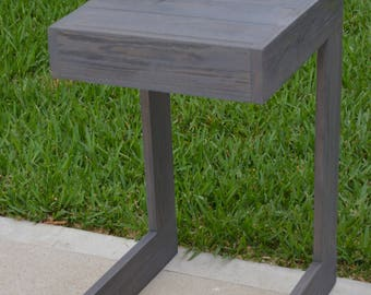 "Cypress Wood ""C"" shaped Patio Side Table - Custom"