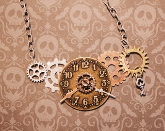 Steampunk Clockwork Pendant Necklace, Steampunk Necklace, Charm Necklace