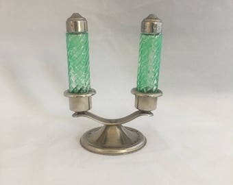 Free Shipping! Green Painted Salt and Pepper Shakers with Holder