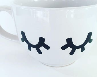 """Big coffee cup, """"eyelashes"""", coffee mug"""