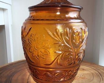 vintage anchor hocking amber jar with lid