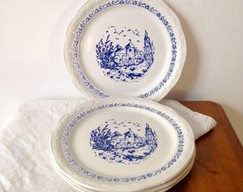 Vintage Moulin des Loups - Orchies porcelain dessert plates