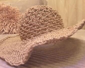 Handmade crochet summer hat sun hat natural hat fedore hat hemp