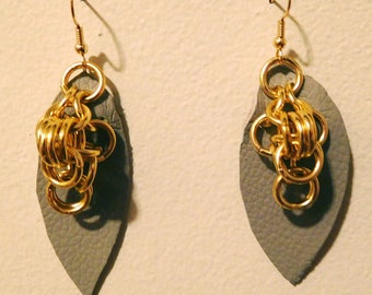 Light gray leather and chainmail earrings