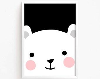 Sale 50% Off - Cute Bear Face Black White Poster Printable art Baby Girls animal illustration Kawaii Kids room nursery art instant download