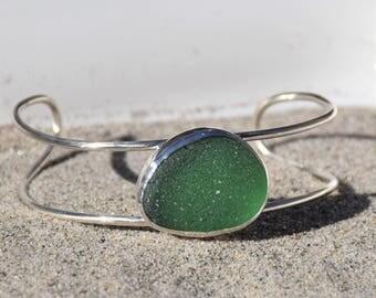 Sea Glass Bracelet Sterling Silver Cuff Teal