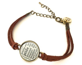 Pride Dictionary Bracelet - Made from a vintage dictionary. Birthday Gift, Graduation Gift, Unique Gift, Gift for Her, Boho Chic