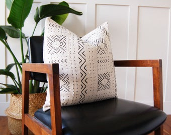 African Mudcloth White Geometric Pillow Cover