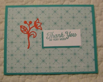5 thank you greeting cards 4 1/4 by 5 1/2 with envelop.