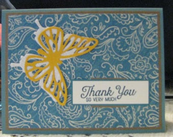 Thank you card 4 1/4 by 5 1/2 with envelop.
