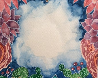Watercolor illustrations with cactus and succulents , ready for digital download