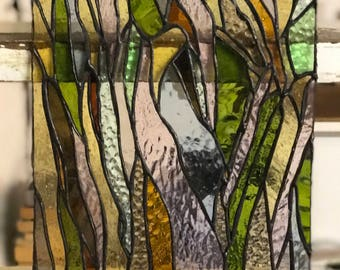 Tree bark stained glass panel. Hand made and original design!