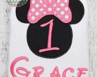 Girls Minnie Mouse silhouette appliqued birthday shirt - Disney