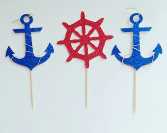 Anchor birthday,anchor cupcake toppers,navy toppers,cupcake toppers
