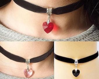 Velvet choker, heart stone choker, womens choker necklace, heart necklace, birthstone, womens choker, choker necklace, pendant choker
