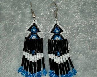 Hand beaded native american arrow head earrings