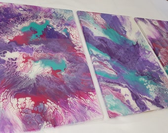Fractals- Original fluid acrylic and resin tryptich
