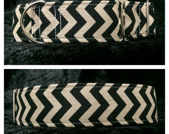 Chevron Black Dog Collar / Martingale