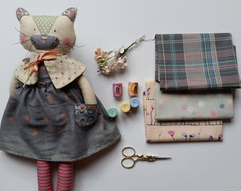 "Custom doll - personalised Lalou or Boo doll - handmade modern fabric doll - cat doll - heirloom doll - 15.5"" tall"