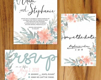 Blue, Gray, and Blush Floral Wedding Station Set - Invitation, RSVP, and Save the Date