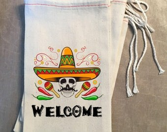 Mexican Favor, Mexican Themed Welcome Pouch, Party Favor Bag, Mexican Hat Party Gift Bag, Loot Bag, Goodie Bag, Welcome Bag, Whimsical Bag
