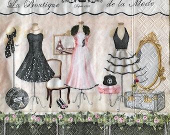 Decoupage Napkins x4, Paper Napkins for Decoupage Scrapbooking Crafts Collages Vintage Boutique Dresses Moda 201