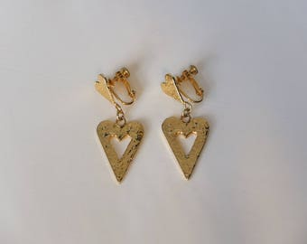 Vintage Heart Dangle Earrings - 1990s Textured Gold Tone Heart Drop Earrings - Screw Back, Clip On, Costume Jewellery