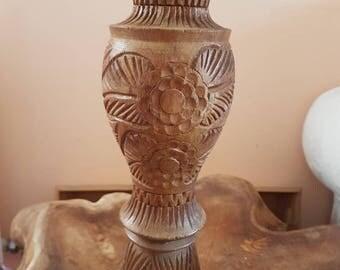 Vintage wooden crafted carved vase