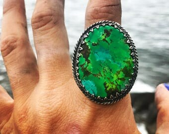 Statement Green Turquoise Ring