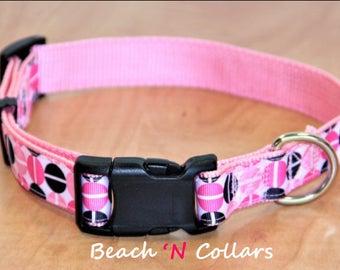 Pink, Black & White Split Pea Dog Collar