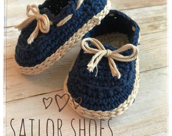 Crochet Baby boy sailor shoes, baby loafers
