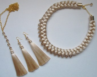 Silk necklace and earrings-tassels of champagne color.