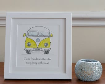 Framed VW campervan friendship print