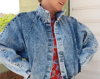 Vintage Blue Stone Wash Denim 1990s 90s Grunge Jean Jacket