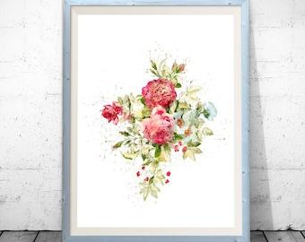 Rose flower, flower art, botanical art, pink rose bouquet, rose art print, red rose art, rose flower watercolor rose watercolor flower decor