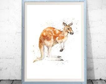 Watercolor kangaroo, kangaroo print, kangaroo decor, kangaroo wall art, kangaroo art, kangaroo printable, kangaroo poster, cute animal print