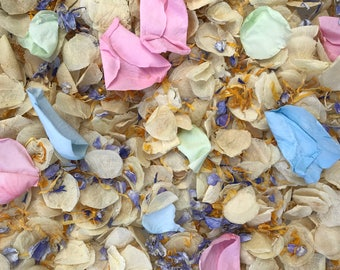 Cloud Chaser | Ivory & Pastel Pink, Blue, Green and Yellow | Real Petal Wedding Confetti | Biodegradable Petals | Wedding Throwing Confetti