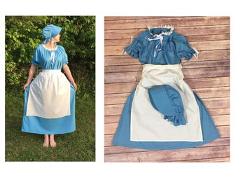 Complete Outfit - Girls Size 10/12 Pioneer Trek Colonial Frontier Prairie Pilgrims Renaissance Reenactment Civil War Dress Costume