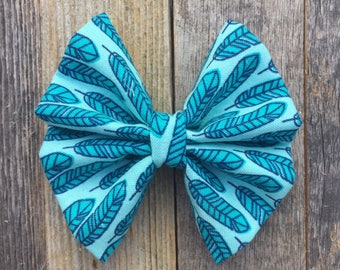 Turquoise Feather Bow