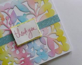 Handmade Mixed Media Thank You Greeting Card- Thank You Card- Distress Ink Card