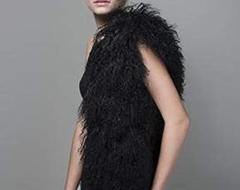 Mongolian Fur Vest - Onyx