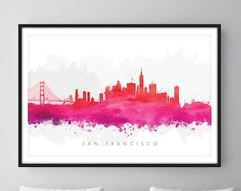San Francisco Skyline, San Francisco California Cityscape Art Print, Wall Art, Watercolor, Watercolour Art Decor