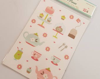 Tea Party Themed Stickers for Card Making Scrapbooknig Craft