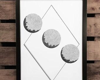 White Space 5, A3 Art Print, Hand Drawn, Original Art