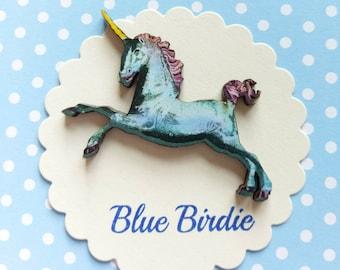 Unicorn brooch unicorn jewelry blue unicorn brooch unicorn jewellery unicorn gifts blue unicorn jewelry unicorn gift unique unicorn