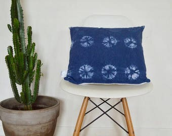Shibori Tie Dye blue cushion