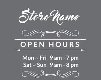 custom / personalize / business hour / open hour / vinyl decal / store hour / vinyl window sign / custom sticker / decal / store open hours