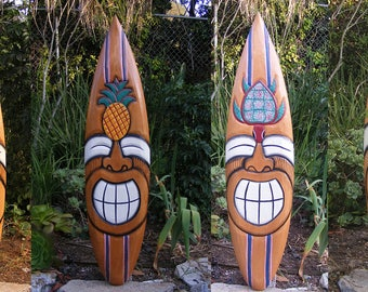 "surfboard Deal package tiki bar beach Tribal Happy Tiki Surfboard Mask Package Deal Wood Patio Tropical Bar 40"" Set of 3-4"