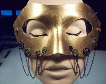 Steampunk Masquerade Mask with chains - Antique Gold